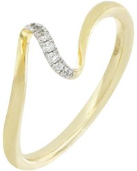 Bony Levy Keira 18k Yellow Gold Pave Diamond Wavy Band Ring - 0.03 Ctw - Metallic
