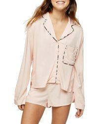 TOPSHOP Kourtney Pajama Top - White