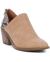 Report Ortega Snake Embossed Block Heel Bootie - Brown