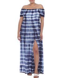 Boho Me Off-the-shoulder Tie Dye Print Maxi Dress - Blue