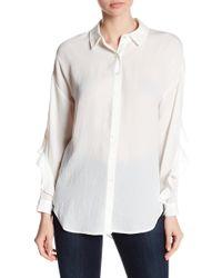 1.STATE Ruffle Sleeve Back Split Shirt - White