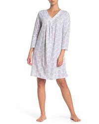 Carole Hochman Satin Trim V-neck Nightgown - Gray