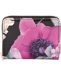 Ted Baker - Lilibe Neon Poppy Floral Printed Zipped Mini Purse - Lyst