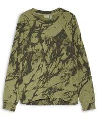 Zella Jamie Ink Print French Terry Crewneck Sweatshirt - Green