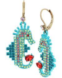 Betsey Johnson Stone Seahorse Drop Earrings - Multicolour