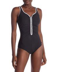 Reebok - Zigzag Zip One-piece Swimsuit - Lyst