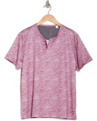 Con.struct Textured Print Performance Short Sleeve Henley Shirt - Purple