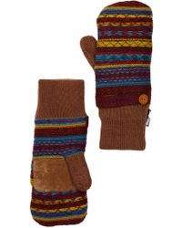 Muk Luks Vintage Sweater Mittens - Brown