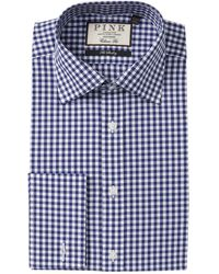 Thomas Pink Summers Gingham Print Slim Fit Dress Shirt - Blue