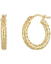 Bony Levy 14k Yellow Gold Textured Hoop Earrings - Metallic
