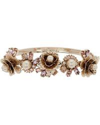 Marchesa - Crystal & Imitation Flower Bangle Bracelet - Lyst