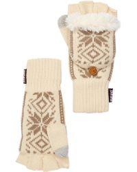 Muk Luks Snowflake Nordic Faux Fur Lined Pop-top Gloves - White