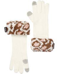 Muk Luks Leopard Cuff Gloves - Gray