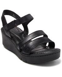 Born Pawnee Leather Platform Sandals - Black