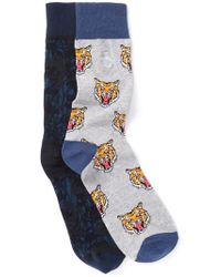 Original Penguin Assorted Printed Crew Socks - Pack Of 2 - Blue