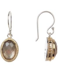 Anna Beck - 18k Gold Plated Sterling Silver Oval Smokey Quartz Doublet Drop Earrings - Lyst