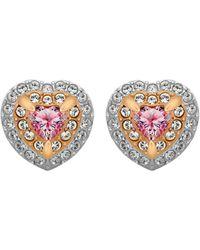 Swarovski Heart Shaped Crystal Stud Earrings - Pink