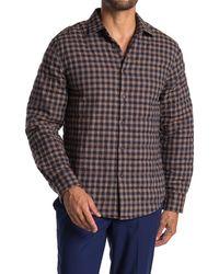 Thomas Dean Plaid Crinkled Shirt Jacket - Multicolor