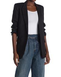 Nili Lotan Diane Pinstripe One Button Peak Lapel Stretch Wool Blazer - Black
