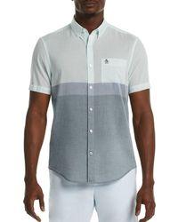 Original Penguin Colorblock Lawn Short Sleeve Heritage Fit Shirt - Blue