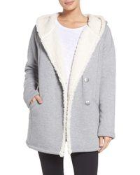 Zella - Chalet Fleece Lined Hooded Wrap - Lyst