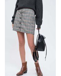 Blu Pepper Plaid Button Down Mini Skirt - Multicolour