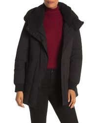 Marc New York Long Sleeve Faux Shearling Hooded Puffer Coat - Black