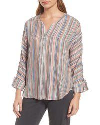 NIC+ZOE - Cabana Stripe Lace-up Sleeve Top - Lyst