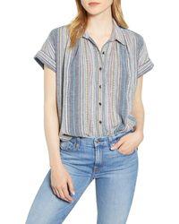 Caslon Caslon Stripe Camp Shirt - Blue