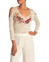 Johnny Was Cold Shoulder Floral Embroidered Silk Blend Sweater - Multicolour
