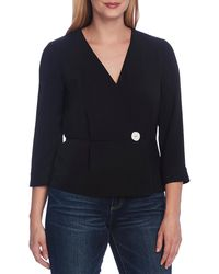 Vince Camuto Rumple Twill Peplum Wrap Blouse - Black