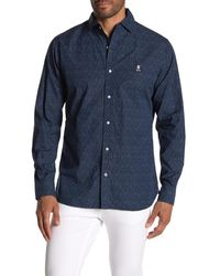 Psycho Bunny Abstract Long Sleeve Trim Fit Shirt - Blue