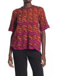 M Missoni Chevron Striped Scalloped T-shirt - Orange