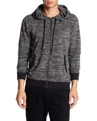 Micros Danny Long Sleeve Knit Zip Front Hoodie - Black