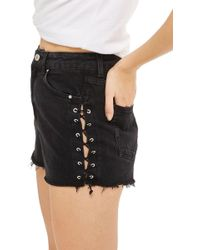TOPSHOP - Lace-up Denim Mom Shorts - Lyst