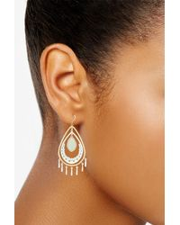 Lucky Brand Faux Pearl Drop Earrings - Metallic