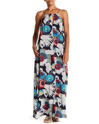 AAKAA Halter Floral Print Maxi Dress - Blue