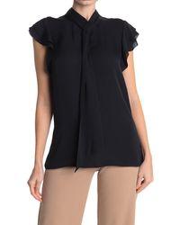Elie Tahari Bree Flutter Cap Sleeve Silk Blouse - Black