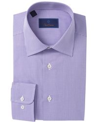David Donahue Check Regular Fit Dress Shirt - Purple