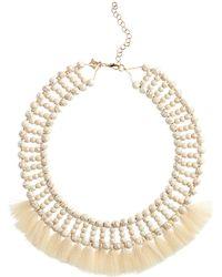 Panacea - Howlite Tassel Collar Necklace - Lyst