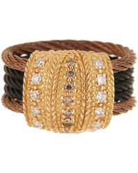 Alor - 18k Gold & Stainless Steel Cable Pave Champagne Diamond Ring - 0.33 Ctw - Size 6.5 - Lyst