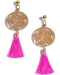 Shiraleah Bali Filigree Tassel Drop Earrings - Pink