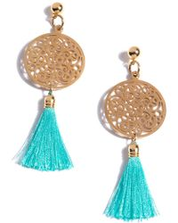 Shiraleah Bali Filigree Tassel Drop Earrings - Blue