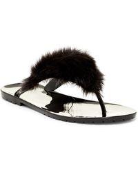 Dizzy Liza Faux Fur Thong Sandal - Black
