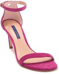 Stuart Weitzman Nunaked Straight Suede Sandal - Pink