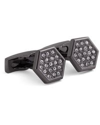 Hickey Freeman Hexagon Embellished Black Cuff Links