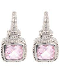 Judith Ripka Sterling Silver Cushion Cut Drop Earrings - Metallic