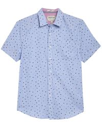 Report Collection Oxford Print Short Sleeve Slim Fit Shirt - Blue