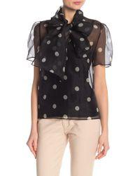 Anne Klein - Silk Dot Patterned Tie Neck Blouse - Lyst