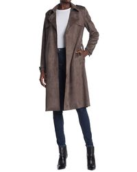 Philosophy Apparel Belted Faux Suede Trench Coat - Multicolor